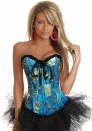 Bule Lace Up Print Satin OverBust CORSET