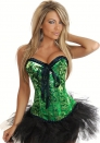 Green Lace Up Print Satin OverBust CORSET