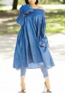 Women Fashion Jeans Off Shoulder Ruffle Long Sleeve Midi Dress