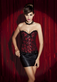 Red Lace Front Satin OverBust Steel Boned CORSET