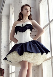 Black White Lace Up Vertical Stripes Lace Front Satin OverBust Steel Boned CORSET Without Skirt
