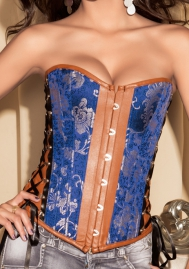 Purple Front Denim Leather OverBust Steel Boned CORSET