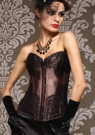 Brown Print Lace Front Satin OverBust Steel Boned CORSET
