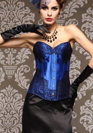 Navy Print Lace Front Satin OverBust Steel Boned CORSET