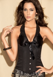 Black Bows Halter Vertical Stripes Front Cotton OverBust Steel Boned CORSET