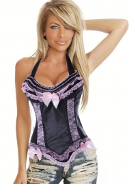 Black Purple Bows Halter Lace Satin OverBust CORSET
