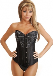 Black Diamante Front Satin OverBust Steel Boned CORSET