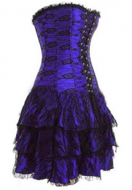 Purple Lace Flower Bandage Satin OverBust Bustiers & Corsets