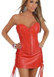 Red Front Bandage Leather OverBust CORSET