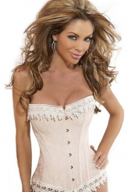 Ivory Ruffle Front Satin OverBust CORSET