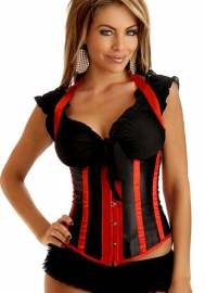 Red Black Halter Vertical Stripes Front Satin OverBust CORSET