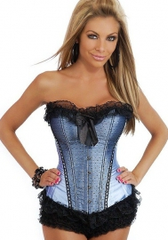 Black Grey Lace Up Vertical Stripes Front Satin OverBust CORSET