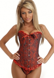 Red Sequin Print Front Satin OverBust CORSET