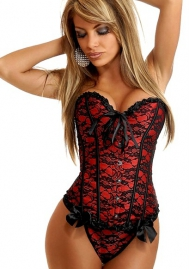 Red Lace Up Ruffle Lace Front Satin OverBust CORSET