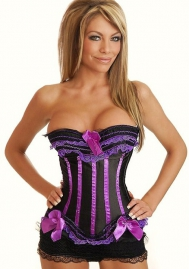 Black Purple Bows Vertical Stripes Flower Satin OverBust CORSET