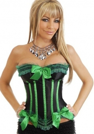 Black Green Bows Vertical Stripes Flower Satin OverBust CORSET