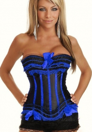 Black Blue Bows Vertical Stripes Flower Satin OverBust CORSET