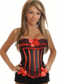 Black Red Bows Vertical Stripes Flower Satin OverBust CORSET