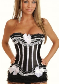 Black White Bows Vertical Stripes Flower Satin OverBust CORSET