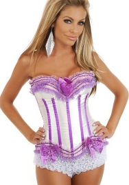 White Purple Bows Vertical Stripes Flower Satin OverBust CORSET