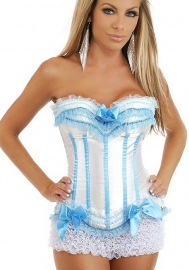 White Blue Bows Vertical Stripes Flower Satin OverBust CORSET