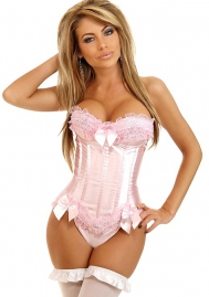 White Bows Lace Up Ruffle Flower Satin OverBust CORSET