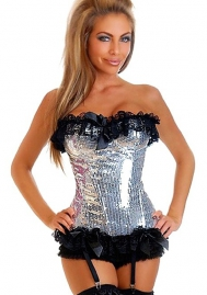 Sliver Sequin Lace Up Ruffle Flower Polyestor OverBust CORSET