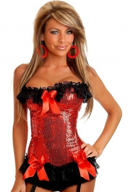 Red Sequin Lace Up Ruffle Flower Polyestor OverBust CORSET