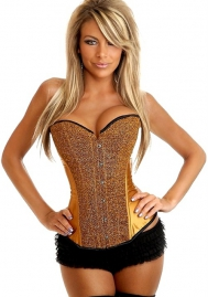 Glod Sequin Front Satin OverBust CORSET