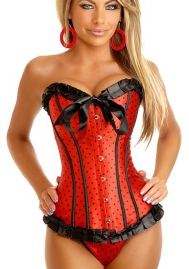 Red Bows Polka Dot Ruffle Vertical Stripes Front Satin OverBust CORSET