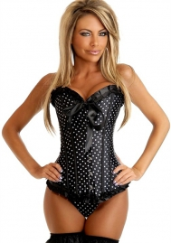 Black Bows Polka Dot Ruffle Vertical Stripes Front Satin OverBust CORSET