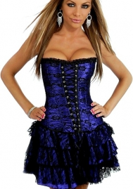 Purple Lace Up Ruffle Front Bandage Satin OverBust Bustiers & Corsets