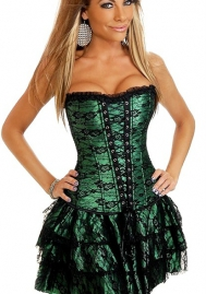 Green Lace Up Ruffle Front Bandage Satin OverBust CORSET