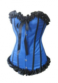 Green Lace Up Ruffle Vertical Stripes Front Satin OverBust CORSET