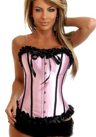 Pink Lace Up Ruffle Vertical Stripes Front Satin OverBust CORSET