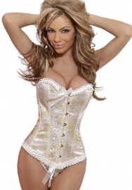 Beige Bows Ruffle Print Front Satin OverBust CORSET