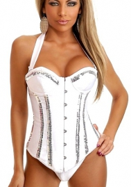 White Sequin Halter Vertical Stripes Front Satin OverBust CORSET