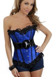 Blue Lace Up Ruffle Vertical Stripes Front Satin OverBust CORSET