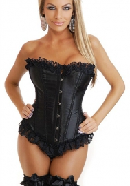 Black Lace Up Ruffle Vertical Stripes Front Satin OverBust CORSET