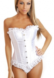 White Lace Up Ruffle Vertical Stripes Front Satin OverBust CORSET