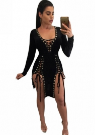 Sexy Womens Deep V Neck Cross Bandage Lace Up Hollow Out Bodycon Dress Club Irregular Split Cocktail Mini Dress