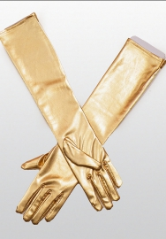 Women's Sexy Elastic Wet Shiny Leather Sleeve Look Long Gloves