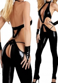 Sexy Leather One-Piece Lingerie Jumpsuits With Gloves/ G-string Black Teddy Hot