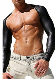 Men's Sexy Faux Leather Mesh Bodysuit Catsuit Long Sleeve DJ Club Wear