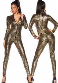 Women's Zipper Front Snake SKin Print Cat Suit Fetish Gothic
