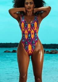Women's Alluring Print  Bikini Low Cut One-piece Swimwear
