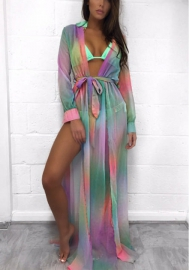 Women's Maxi Dress Deep V Neck Belted Patterned Split Long Sleeve Dress