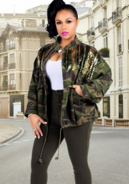 Ladies Camo Sequin Bomber Jacket