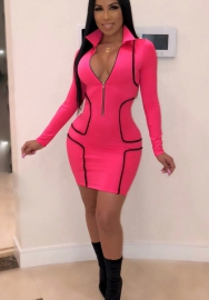 Womens Fashion Long Sleeve Front Zipper Mini Dress