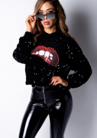 Women Fashion Sequins Round Neck Long Sleeve Sweatshirt